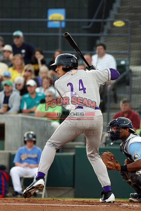 Winston-Salem Dash outfielder Trayce Thompson #24 at bat during a game against the Myrtle Beach Pelicans at Tickerreturn.com Field at Pelicans Ballpark on April 16, 2012 in Myrtle Beach, South Carolina. Myrtle Beach defeated Winston Salem by the score of 2-0. (Robert Gurganus/Four Seam Images)