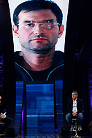 Salvatore Buzzi, condemned for the Mafia Capitale affair, appears as a guest on the tv show 'Non e' l'arena'. In the background on the screen Massimo Carminati, his partner in crime and former black brigadist.<br /> Rome (Italy), October 11th 2020<br /> Photo Samantha Zucchi Insidefoto