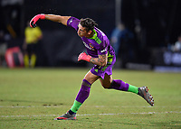 LAKE BUENA VISTA, FL - JULY 18: David Bingham #1 of LA Galaxy throws the ball to a teammate during a game between Los Angeles Galaxy and Los Angeles FC at ESPN Wide World of Sports on July 18, 2020 in Lake Buena Vista, Florida.