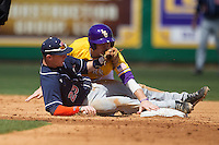 LSU Tigers first baseman Mason Katz #8 reaches to second baseman after a pick off attempt while Auburn Tigers second baseman Jordan Ebert #23 grabs the ball in the NCAA baseball game on March 24, 2013 at Alex Box Stadium in Baton Rouge, Louisiana. LSU defeated Auburn 5-1. (Andrew Woolley/Four Seam Images).