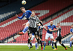 St Mirren v St Johnstone…09.05.21  Scottish Cup Semi-Final Hampden Park <br />Jamie McCart gets to the ball above Lee Erwin<br />Picture by Graeme Hart.<br />Copyright Perthshire Picture Agency<br />Tel: 01738 623350  Mobile: 07990 594431