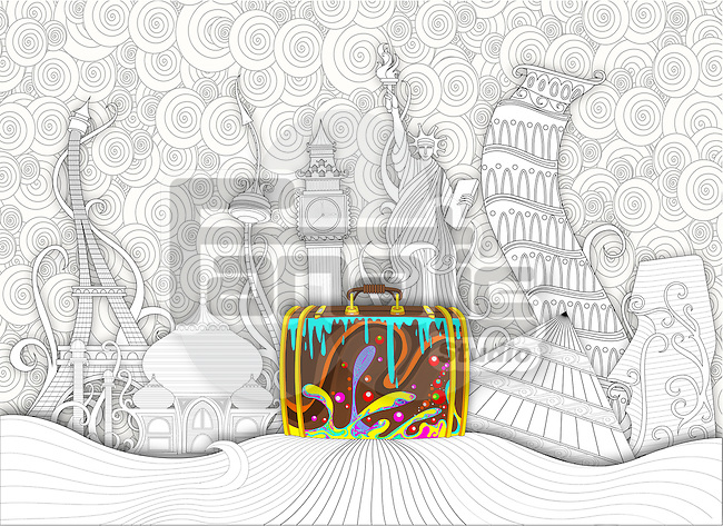 Illustrative image of colorful suitcase with seven wonders of the world in background