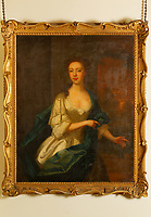 An oil painting of Rachel Lloyd at Cynghordy Estate in Carmarthenshire, Wales, UK. She died at the age of 82 in 1803 and worked as a housekeeper in Kensington Palace during the 18th century.