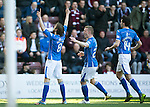 Hearts v St Johnstone…19.03.16  Tynecastle, Edinburgh<br />Murray Davidson celebrates his first goal<br />Picture by Graeme Hart.<br />Copyright Perthshire Picture Agency<br />Tel: 01738 623350  Mobile: 07990 594431
