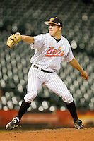Relief pitcher Joseph Vanderplas #46 of the Tennessee Volunteers in action against the Rice Owls at Minute Maid Park on March 4, 2012 in Houston, Texas.  The Owls defeated the Volunteers 11-1.  Brian Westerholt / Four Seam Images
