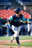 Lynchburg Hillcats left fielder Mitch Longo (10) runs to first base during the first game of a doubleheader against the Frederick Keys on June 12, 2018 at Nymeo Field at Harry Grove Stadium in Frederick, Maryland.  Frederick defeated Lynchburg 2-1.  (Mike Janes/Four Seam Images)