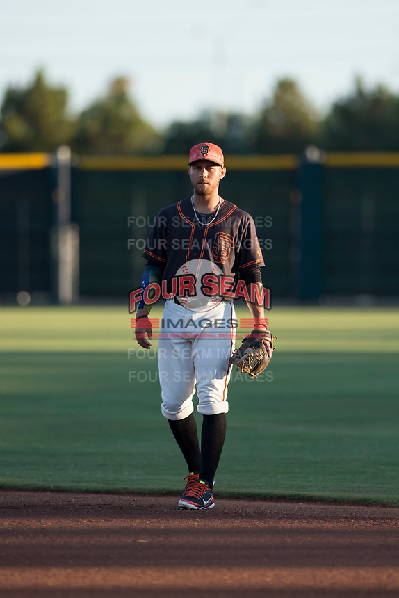 AZL Giants Black second baseman Jose Rivero (2) during an Arizona League game against the AZL Angels at the San Francisco Giants Training Complex on July 1, 2018 in Scottsdale, Arizona. The AZL Giants Black defeated the AZL Angels by a score of 4-2. (Zachary Lucy/Four Seam Images)
