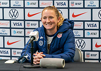 ORLANDO, FL - JANUARY 18: Samantha Mewis #3 of the USWNT talks to the media after a game between Colombia and USWNT at Exploria Stadium on January 18, 2021 in Orlando, Florida.