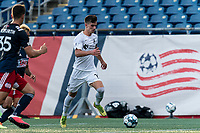 FOXBOROUGH, MA - JULY 25: USL League One (United Soccer League) match. Evan Conway #11 of Union Omaha dribbles down the wing during a game between Union Omaha and New England Revolution II at Gillette Stadium on July 25, 2020 in Foxborough, Massachusetts.
