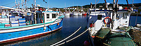 Ile du Havre-Aubert, Iles de la Madeleine, Quebec, Canada - Commercial Crab Fishing Boats docked in Port du Millerand - (Amherst Island, Magdalen Islands) - Panoramic View