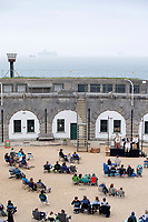 BNPS.co.uk (01202) 558833<br /> Pic: ZacharyCulpin/BNPS<br /> <br /> Pictured: The crowds turned out for the production on the coast in Weymouth<br /> <br /> Life of Treasure - The cast from This is My Theatre pictured during their Summer Tour of their stage production, Treasure Island.<br /> <br /> The swashbuckling tale of murder and mutiny are lifted from the pages of Robert Louis Stevenson's classic novel. The performance took place last night (Wednesday) at the seaside location of the Nothe Fort in Weymouth, Dorset which was built in 1872.