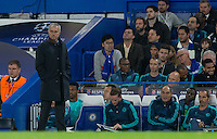 Chelsea Manager José Mourinho looks on during the UEFA Champions League match between Chelsea and Maccabi Tel Aviv at Stamford Bridge, London, England on 16 September 2015. Photo by Andy Rowland.