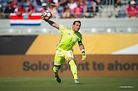 Orlando, Florida - Saturday, June 04, 2016: Paraguayan goalkeeper Justin Villar (1) starts the counter attack during a Group A Copa America Centenario match between Costa Rica and Paraguay at Camping World Stadium.