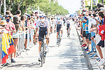 Israel Start-Up Nation arrive at sign on before the start of Stage 7 of La Vuelta d'Espana 2021, running 152km from Gandia to Balcon de Alicante, Spain. 20th August 2021.     <br /> Picture: Unipublic/Charly Lopez | Cyclefile<br /> <br /> All photos usage must carry mandatory copyright credit (© Cyclefile | Charly Lopez/Unipublic)