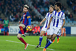 FC Barcelona's Leo Messi, Real Sociedad's Carlos Martinez Diez, Asier Illarramendi during the match of La Liga, between Real Sociedad and Futbol Club Barcelona at Anoeta Stadium, San Sebastian , Spain. November 27, 2016. (ALTERPHOTOS/Rodrigo Jimenez)