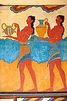 Arthur Evans reconstruction of Procession  Frescos at Knossos Minoan archaeological site, Crete