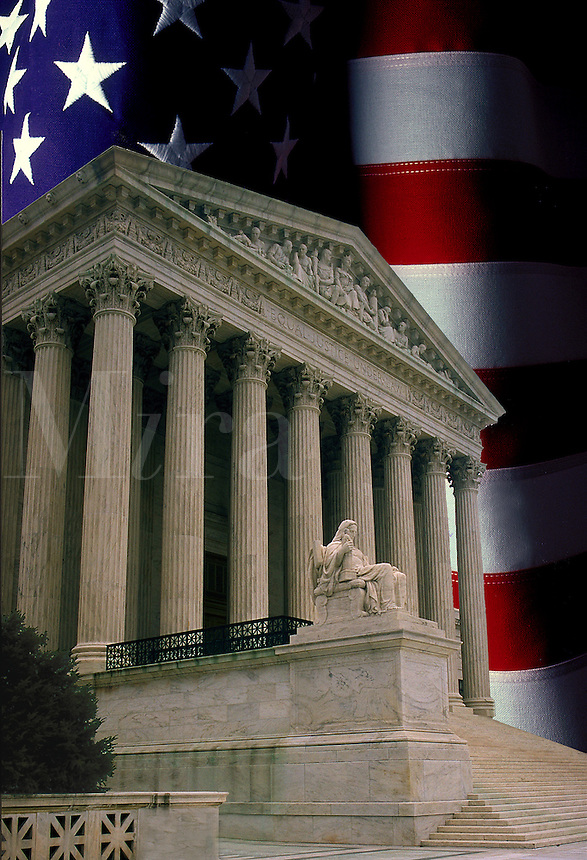 Supreme Court building and American Flag.