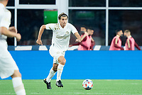 FOXBOROUGH, MA - MAY 1: Santiago Sosa #5 of Atlanta United FC during a game between Atlanta United FC and New England Revolution at Gillette Stadium on May 1, 2021 in Foxborough, Massachusetts.