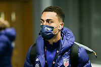 SWANSEA, WALES - NOVEMBER 12: Sergino Dest #2 of the United States men's national team arrives at Liberty stadium before a game between Wales and USMNT at Liberty Stadium on November 12, 2020 in Swansea, Wales.