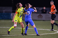 Silke Vanwynsberghe (21) of AA Gent and Gwen Duijsters (13) of KRC Genk pictured during a female soccer game between  Racing Genk Ladies and AA Gent Ladies ,  on the 6 th  matchday of the 2021-2022 season of the Belgian Scooore Womens Super League , friday 8 october 2021  in Genk , Belgium . PHOTO SPORTPIX | JILL DELSAUX