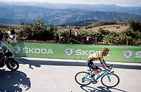 Sepp Kuss (USA/Jumbo-Visma) on his way to winning stage 15<br /> <br /> Stage 15: Tineo to Santuario del Acebo (154km)<br /> La Vuelta 2019<br /> <br /> ©kramon