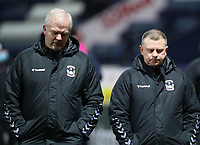 29th December 2020; Deepdale Stadium, Preston, Lancashire, England; English Football League Championship Football, Preston North End versus Coventry City; Coventry City manager Mark Robins walks along the touchline at half time