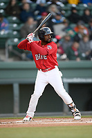Right fielder Juan Carlos Abreu (41) of the Greenville Drive bats in a game against the Rome Braves on Saturday, April 20, 2019, at Fluor Field at the West End in Greenville, South Carolina. Rome won, 5-4. (Tom Priddy/Four Seam Images)