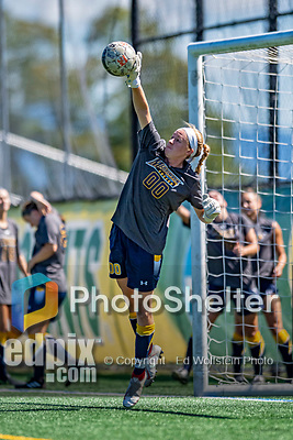 1 September 2019: Merrimack College Warrior Goalkeeper Erin Fulton, a Senior from Farmington, CT, warms up prior to facing the University of Vermont Catamounts in Game 3 of the TD Bank Women's Soccer Classic at Virtue Field in Burlington, Vermont. The Lady Warriors rallied in the second half to defeat the Catamounts 2-1. Mandatory Credit: Ed Wolfstein Photo *** RAW (NEF) Image File Available ***