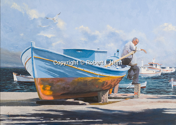 """Beached fishing boat on a sunny Mediterranean beach in Greek Messinia. Oil on canvas, 18' x 25""""."""