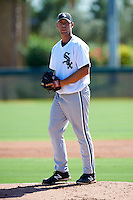 Chicago White Sox minor league pitcher Brandon Brennan #44 during an instructional league game against the Los Angeles Dodgers at the Camelback Training Complex on October 9, 2012 in Glendale, Arizona.  (Mike Janes/Four Seam Images)