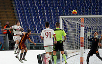 Calcio, Serie A: Roma vs Milan. Roma, stadio Olimpico, 9 gennaio 2016.<br /> AC Milan's Juraj Kucka, left, heads the ball to score the equalizer goal during the Italian Serie A football match between Roma and Milan at Rome's Olympic stadium, 9 January 2016.<br /> UPDATE IMAGES PRESS/Riccardo De Luca