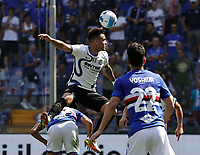 12th September 2021; G.Ferraris Stadium, Genoa, Italy; Serie A football, Sampdoria versus Inter Milan; Lautaro Martinez of Inter wins a header