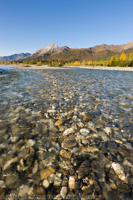 Dietrich river flows out of the Brooks Range mountains, Arctic, Alaska.
