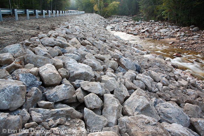 Flash floods from Tropical Storm Irene in 2011 caused this section of the Kancamagus Highway, near Otter Rocks, in the New Hampshire White Mountains to washout. This tropical storm caused massive destruction along the East Coast of the United States, and the White Mountain National Forest was officially closed during the storm.