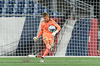 FOXBOROUGH, MA - AUGUST 7: Austin Aviza #61 of Orlando City B takes a goal kick during a game between Orlando City B and New England Revolution II at Gillette Stadium on August 7, 2020 in Foxborough, Massachusetts.