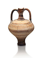 painted Mycenaean two handled jug with a tall neck, Mycenae Chamber Tomb 80, 14th-13th Cent BC.  National Archaeological Museum Athens. Cat no 3228.  White Background.