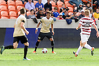 Houston, TX - Friday December 11, 2016: Logan Gdula (17) of the Wake Forest Demon Deacons looks to pass the ball against the Stanford Cardinal at the NCAA Men's Soccer Finals at BBVA Compass Stadium in Houston Texas.