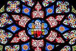 Belgium, Province Brabant, Brussels: Stained-glass rose window with Madonna and Child inside the Eglise Notre-Dame du Sablon | Belgien, Provinz Brabant, Bruessel: Fensterrose aus Buntglas in der gotischen Kirche Notre Dame du Sablon