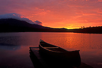 AJ1734, canoe, sunrise, sunset, mountain, lake, Baxter State Park, Maine, Mt. Katahdin, [Sunrise, sunset] over Daicey Pond at Baxter State Park. Canoe rests on the dock of the lake.