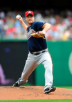 5 July 2009: Atlanta Braves' starting pitcher Derek Lowe on the mound against the Washington Nationals at Nationals Park in Washington, DC. The Nationals defeated the Braves 5-3, to take the rubber game of their 3-game weekend series. Mandatory Credit: Ed Wolfstein Photo