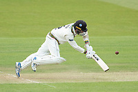 Tom Smith, Gloucestershire CCC overbalances defending against Tim Murtagh during Middlesex CCC vs Gloucestershire CCC, LV Insurance County Championship Group 2 Cricket at Lord's Cricket Ground on 7th May 2021
