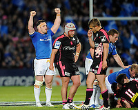 Cian Healy of Leinster celebrates at the final whistle of the Amlin Challenge Cup Final between Leinster Rugby and Stade Francais at the RDS Arena, Dublin on Friday 17th May 2013 (Photo by Rob Munro).