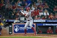 Brandon Zaragoza (4) of the Oklahoma Sooners at bat against the LSU Tigers in game seven of the 2020 Shriners Hospitals for Children College Classic at Minute Maid Park on March 1, 2020 in Houston, Texas. The Sooners defeated the Tigers 1-0. (Brian Westerholt/Four Seam Images)