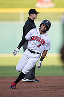 Jason Martin (2) of the Indianapolis Indians runs to third base at Victory Field on May 14, 2019 in Indianapolis, Indiana. The Indians defeated the RailRiders 4-2. (Andrew Woolley/Four Seam Images)