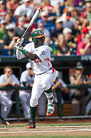 Miami Hurricanes outfielder Jacob Heyward (24) at bat during the NCAA College baseball World Series against the Arkansas Razorbacks  on June 15, 2015 at TD Ameritrade Park in Omaha, Nebraska. Miami beat Arkansas 4-3. (Andrew Woolley/Four Seam Images)