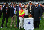 """October 03, 2015: Grand Arch and jockey Luis Saez win the 30th running of the Shadwell Turf Mile (Grade I) 1,000,000 """"Win and You're In Mile Division"""" over The Pizza Man at Keeneland for trainer Brian Lynch and owners Susan and Jim Hill.<br /> Samantha Bussanich/ESW/Cal Sport Media"""