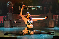 BNPS.co.uk (01202 558833)<br /> Pic: MaxWillcock/BNPS<br /> <br /> Pictured: Hula-hoopist Lucy Fear.<br /> <br /> The Circus of Horrors cast prepare for their evening performance at the Tivoli Theatre in Wimborne Minster, Dorset as part their tour of UK. The Circus of Horrors is a British-based contemporary circus, they were first seen performing at the Glastonbury Festival in 1995.
