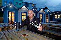 WORDS BY JANE FRYER, DAILY MAIL<br /> Pictured: Gethin James who owns a local take away cafe with some of the items he will be swapping to non-plastic in Aberporth, west Wales, UK. Thursday 21 December 2017<br /> Re: The Welsh coastal village of Aberporth has launched a crusade against single-use plastic products.<br /> The village's general store is selling milk in glass bottles and a pub has replaced plastic drinking straws with paper ones.<br /> Residents launched Plastic-free Aberporth as the UK government's Environment Secretary, Michael Gove, issued his four-point plan for tackling plastic waste.