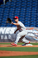 Palm Beach Cardinals first baseman Chris Chinea (5) during the first game of a doubleheader against the Clearwater Threshers on April 13, 2017 at Spectrum Field in Clearwater, Florida.  Clearwater defeated Palm Beach 1-0.  (Mike Janes/Four Seam Images)