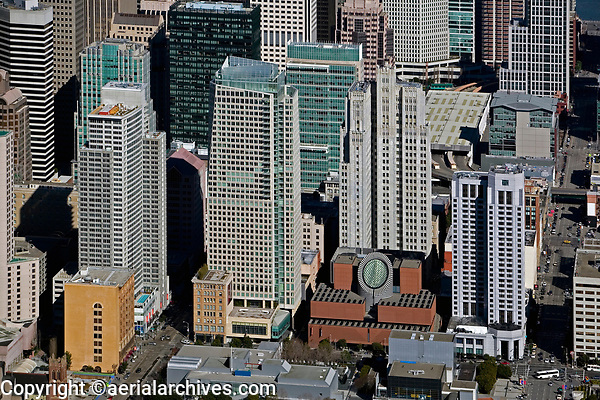 historical aerial photograph of the San Francisco Museum of Modern Art and adjacent high rise buiildings, San Francisco, California